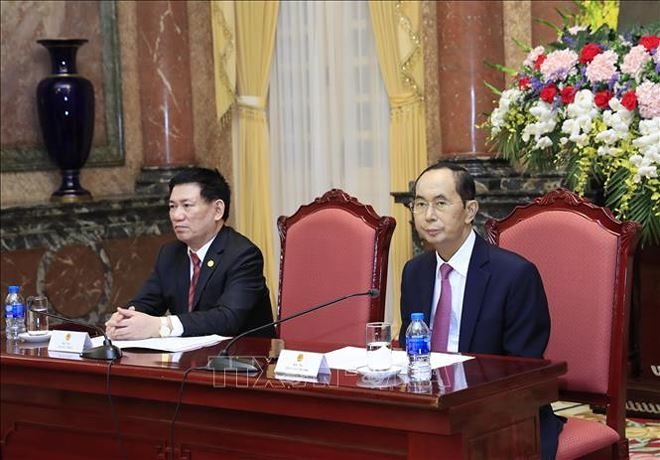Chủ tịch nước Trần Đại Quangtại buổi tiếp Trưởng đoàn các Cơ quanKiểm toántối cao châu Á nhân dịp tham dự Đại hội Tổ chức các Cơ quanKiểm toántối cao châu Á (ASOSAI) lần thứ 14. Ảnh: TTXVN