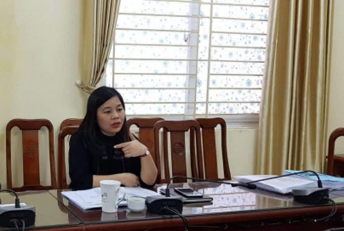 Bà Hoàng Thúy Anh Chủ tịch phường Thanh Xuân Nam trong buổi làm việc với PV Pháp luật Plus.