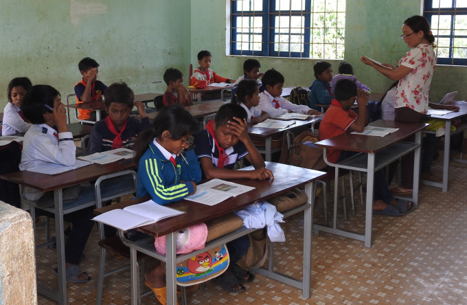 Lớp học tại điểm trường Buôn Ngô A,trường Tiểu học xã Hòa Phong Krông Bông,Đắk Lắk học sinh đã trở lại lớp