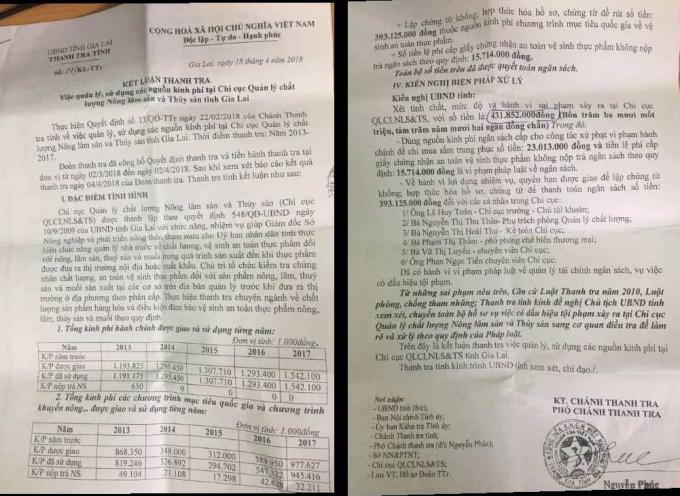 Kết luận số 07/KL-TTr ngày 18/4/2018 của Thanh tra tỉnh Gia Lai về sai phạm tài chính tại Chi cục QLCLNL&TS