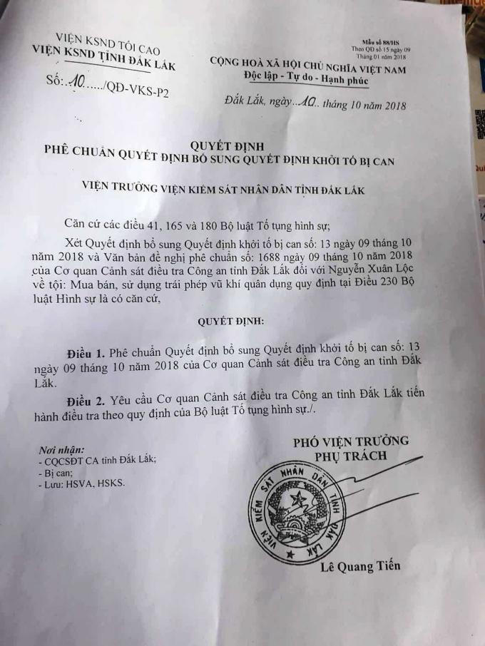 VKS tỉnh Đắk LắkPhê chuẩn Quyết định khởi tố bị can đối với Lộc