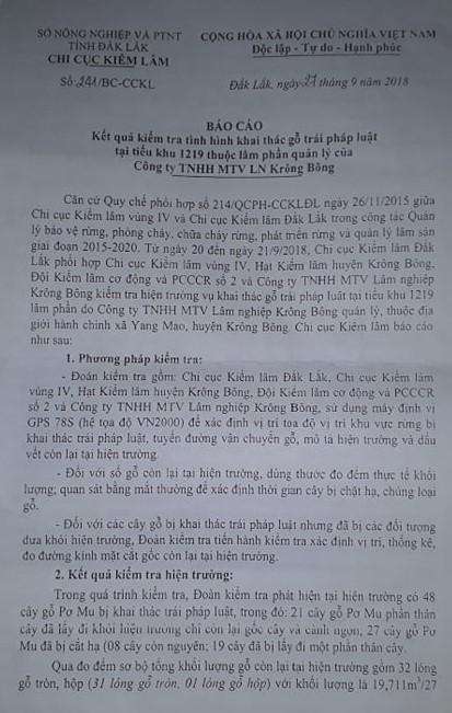 Báo cáo 241/BC-CCKL của Chi cục kiểm lâm tỉnhĐắk Lắk