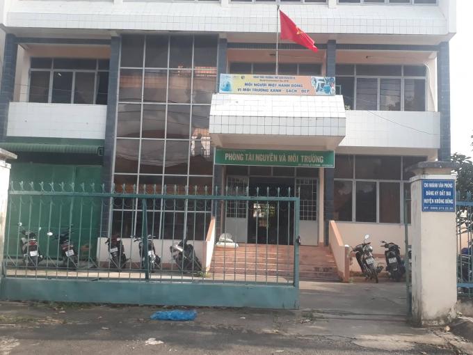 Phòng Tài nguyên và Môi trường huyện Krông Bông nơi quản lý khoáng sản và tài nguyên trênđịa bàn huyện