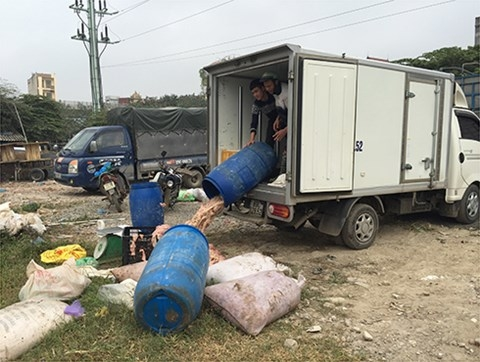 Hoạt động mua bán nội tạng động vật diễn ra công khai ngay tại bến xe Cường Phong