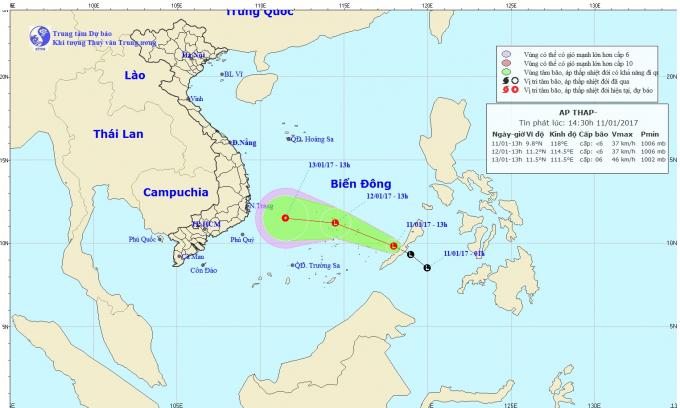 Dự báo hướng đi của áp thấp nhiệt đới. Ảnh: nchmf.gov.vn