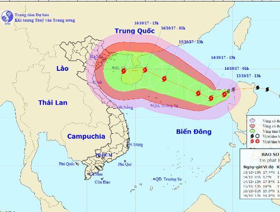 Vị trí, hướng đi của cơn bão số 11. Ảnh: nchmf.gov.vn