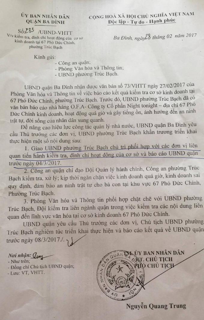 Văn bản chỉ đạo của UBND quận Ba Đình nhưng việcđâu vẫn hoànđấy.