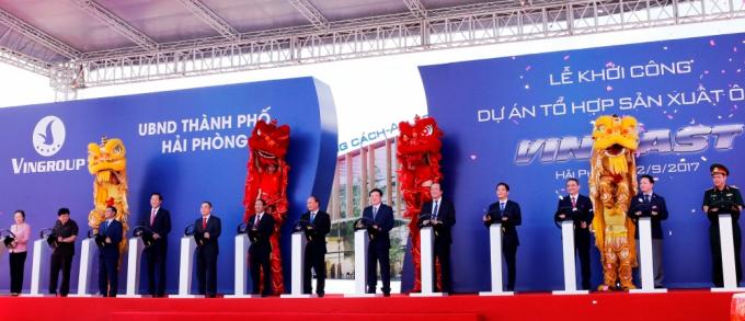 Ngày 2/9/2017, Vingroup khởi công Dự án Tổ hợp sản xuất ô tô VINFAST tại khu kinh tế Đình Vũ – Cát Hải (Hải Phòng).