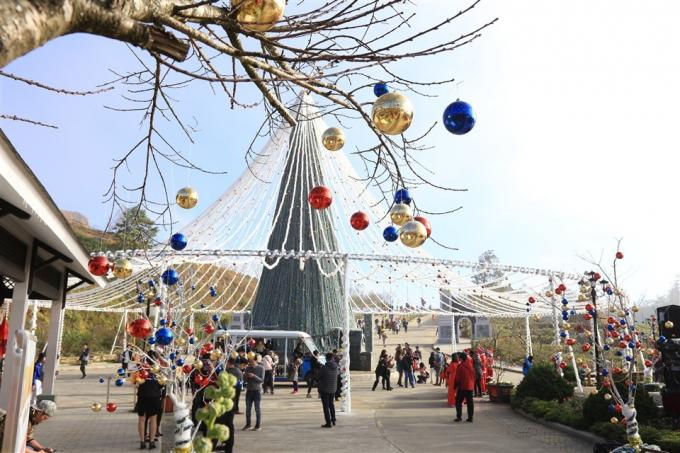 Cây thông đặc biệt có đường kính lên tới 36 mét, được thắp sáng bởi hàng ngàn bóng đèn led, những quả châu đủ màu và những món quà Giáng sinh xinh xắn treo khắp thân cây.
