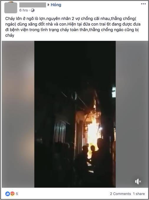 Hình ảnh ngôi nhà đang cháy.