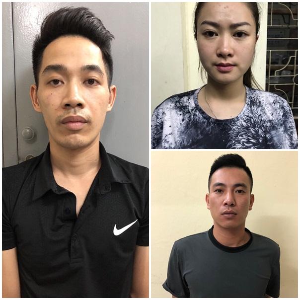 Các đối tượng Thắng, Linh và Nguyệt tại cơ quan công an.