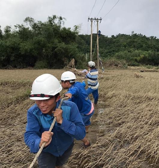 Cán bộ nhân viên VNPT kéo lại đường truyền sau khi nước rút tại Phú Yên.