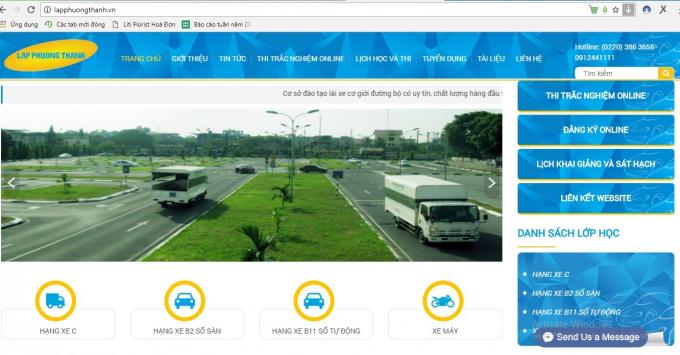 Website có tên Trung tâm DN&SHLX Lập Phương Thành.