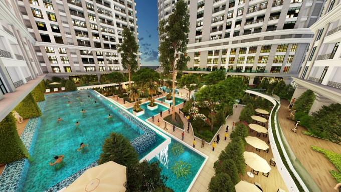 Phối cảnh căn hộ mẫu dự án Sunshine Garden.