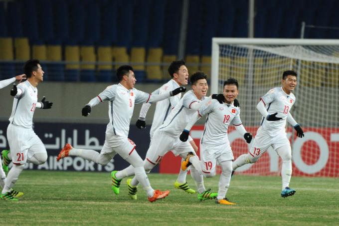 U23 Việt Nam đoạt tấm vé cuối cùng vào tứ kết U23 châu Á. (Ảnh: Baotintuc.vn)