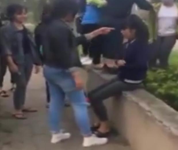 Hình ảnh ghi lại cảnh nữ sinh lớp 10 bị hai nữ sinh khác đánh đập dã man trong công viên (ảnh cắt từ clip).
