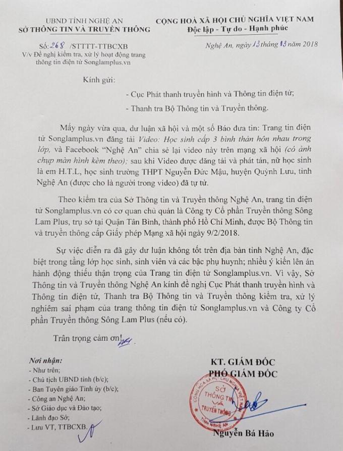 Công văn Sở TT&TT Nghệ An gửi Thanh tra Bộ TT&TT đề nghị kiểm tra, xử lý trang tin liên quan đến đoạn clip.