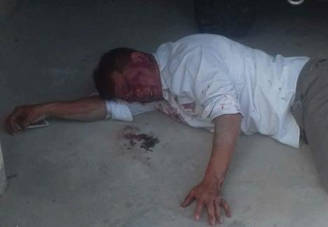 Hình ảnh ông Hòa bị đánh gục tại công ty Bảo Khánh.