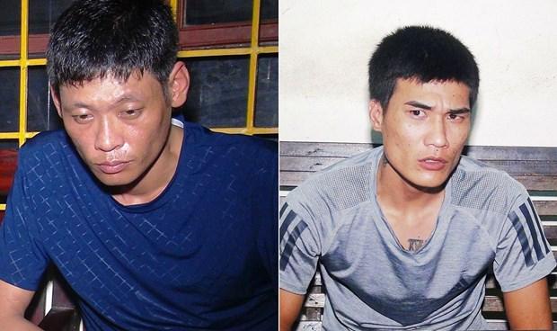 """""""Trùm"""" ma túy mang 3 tiền án Võ Ngọc Anh (trái) và đệ tử thân cận Huỳnh Hùng."""
