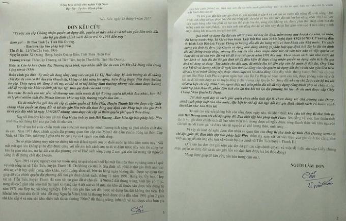 Đơn kêu cứu cụ Lê Văn Cấn gửi Bí thư tỉnh ủy tỉnh Hải Dương và Tòa soạn Pháp luật Plus.