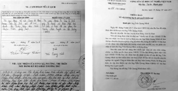 Nội dung phê trong sơ yếu lý lịch của anh Trần Quang Minh và Thông báo của UBND TT Ba Sao về việc không thụ lý giải quyết khiếu nại của ông Trần Quang Minh.