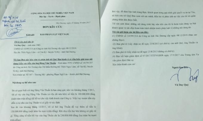 Đơn ông Qúy gửi Tòa soạn Pháp luật Plus.