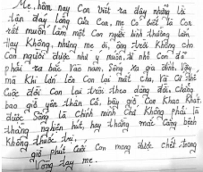Một trang thư của người con mà bà Chung còn giữ lại bên mình.