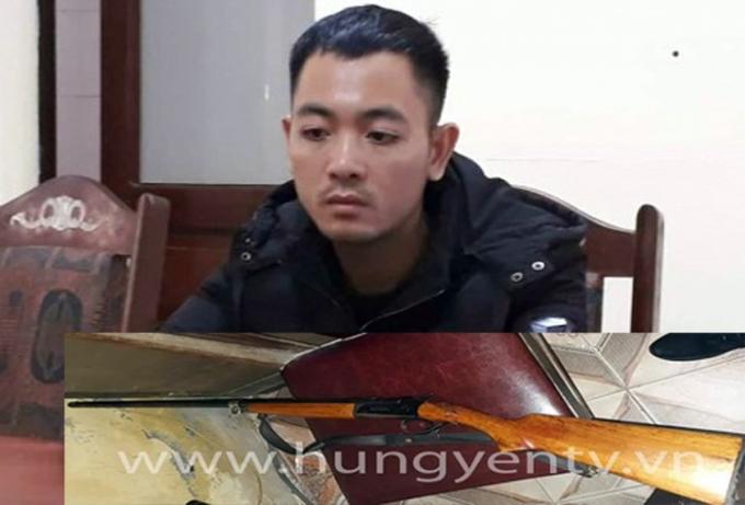 Nguyễn Văn Hưng và khẩu súng đối tượng sử dụng bắn anh L tử vong.