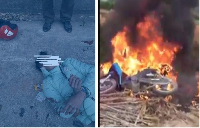 Nam thanh niên do ăn trộm chó nên bị người dân đánh, đốt xe.