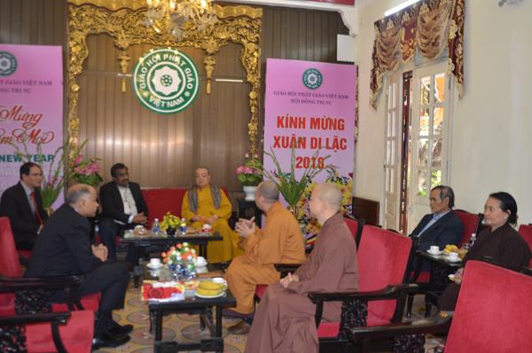 Ngài Ram Madhav – Tổng bí thư Đảng cầm quyền Ấn Độđến thăm, làm việc tại trụ sở Trung ương Giáo hội Phật giáo Việt Nam tại chùa Quán Sứ.