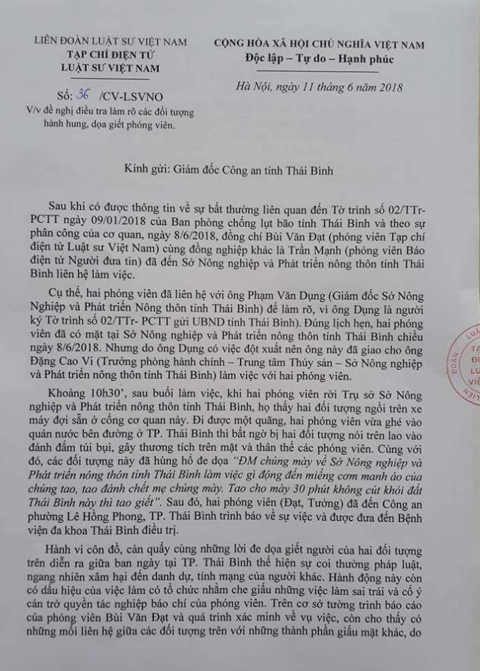 Tạp chí điện tử Luật sư Việt Nam đã có công văn gửi Giám đốc Công an tỉnh Thái Bình.
