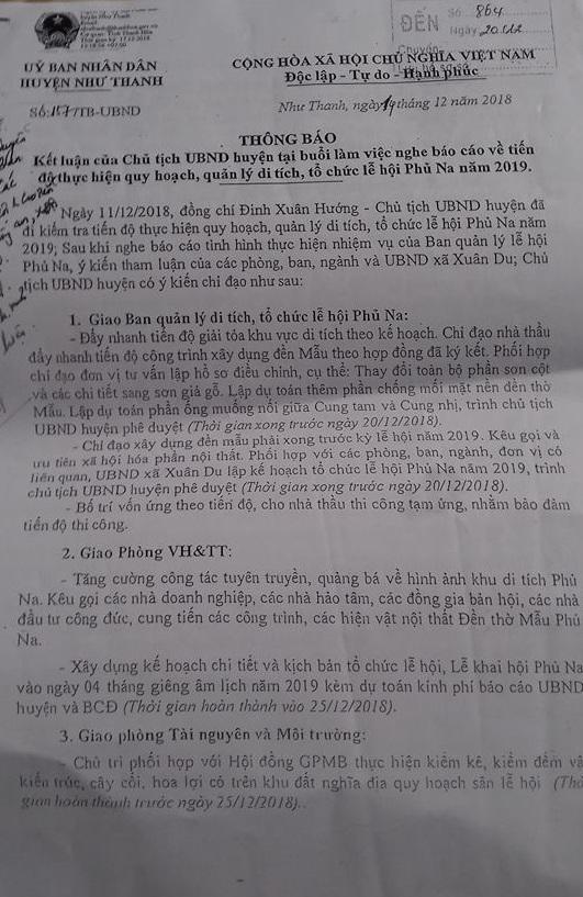 Thông báo về thực hiện quy hoạch, quản lý di tích đền phủ Na của UBND huyện Như Thanh.