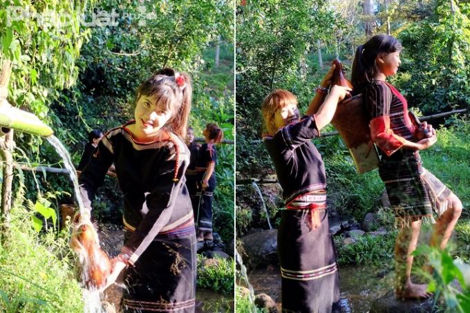 Các thiếu nữ Ê Đê lấy nước bằng quả bầu khô và mang bằng gùi về nhà. (Ảnh: Đoàn Bắc)