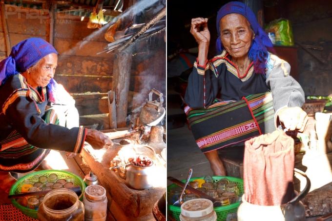 Mí Yă Bě đun cà phê theo kiểu của người Ê Đê Adham. (Ảnh: Đoàn Bắc)