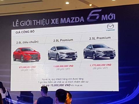Bảng giá công bố Mazda6.
