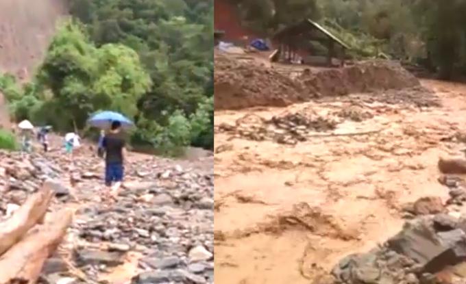 Đấtđá, nước chảy xiếtở xã Tùng Bá, huyện Vị Xuyên.Ảnh: Cắt từ clip.