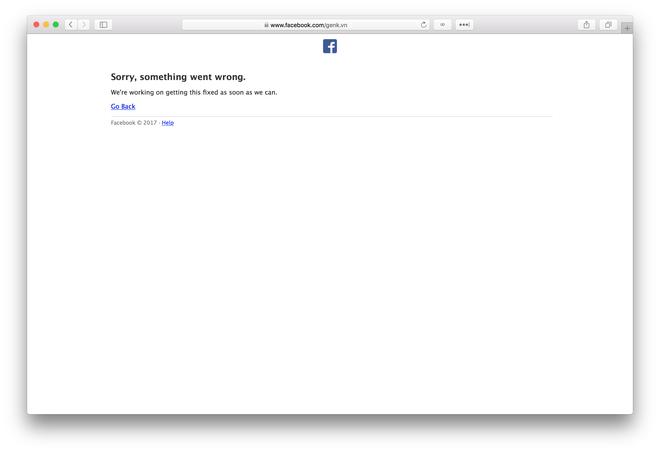 Fanpage không thể truy cập được