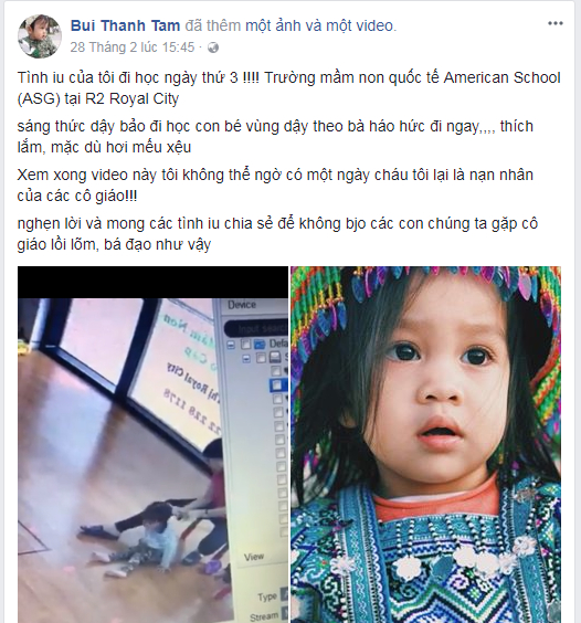 Dòng trạng thái cùng clip trên trang Facebook cá nhân Bui Thanh Tam.