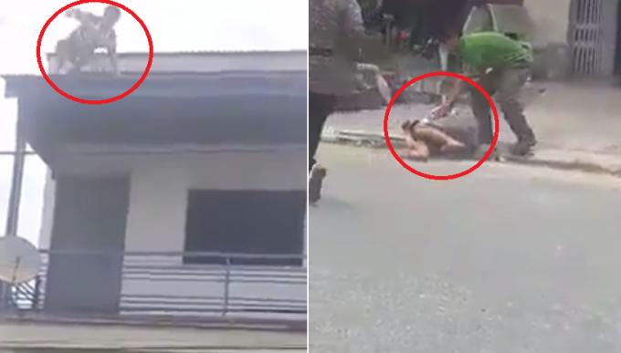 Người đàn ông nhảy từ mái của tòa nhà xuống đất. Ảnh: Cắt từ clip