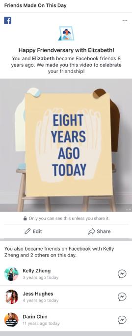 Kỉ niệm bạn bè vào ngày mà 2 người trở thành bạn trên Facebook