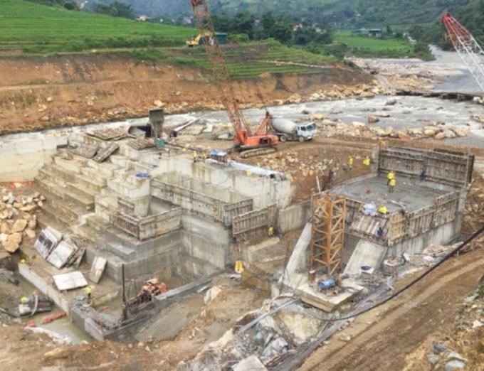 Dự án thủy điện Bản Hồ, xã Bản Hồ đang được triển khai thi công. Ảnh: LC