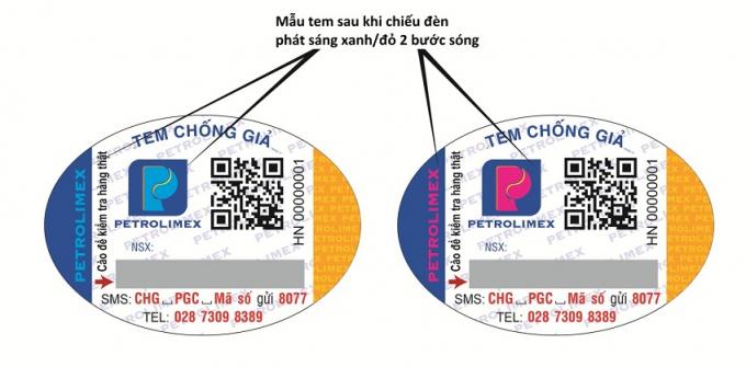 """Hình 5: Chữ """"PETROLIMEX"""" hiển thị hai màu khác nhau ứng với mỗi bước sóng của đèn chiếu tia cực tím"""