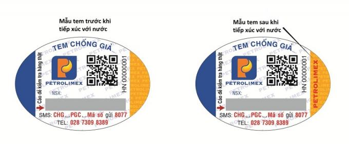 """Hình 4: Chữ """"PETROLIMEX"""" màu đỏ hiện lên khi bôi nước vào phần màu vàng vế bên phải con tem"""