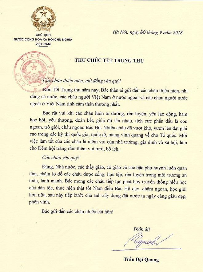 Thư chúc tết Trung Thu của Chủ tịch nước Trần Đại Quang.