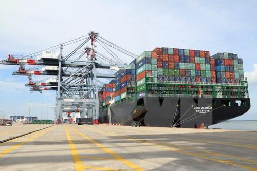 Dự án xây dựng Trung tâm logistics, cảng tổng hợp Cái Mép hạ. Ảnh: TTXVN
