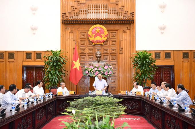 Thủ tướng Nguyễn Xuân Phúc tại buổi làm việc với lãnh đạo Tp Đà Nẵng.
