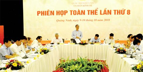 Ủy viên Trung ương Đảng, Chủ nhiệm Ủy ban Kinh tế Vũ Hồng Thanh phát biểu tại phiên họp. Ảnh: H.Loan