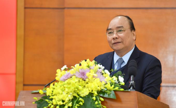 Thủ tướng Nguyễn Xuân Phúc phát biểu tạiHội nghị. (Ảnh: VGP)