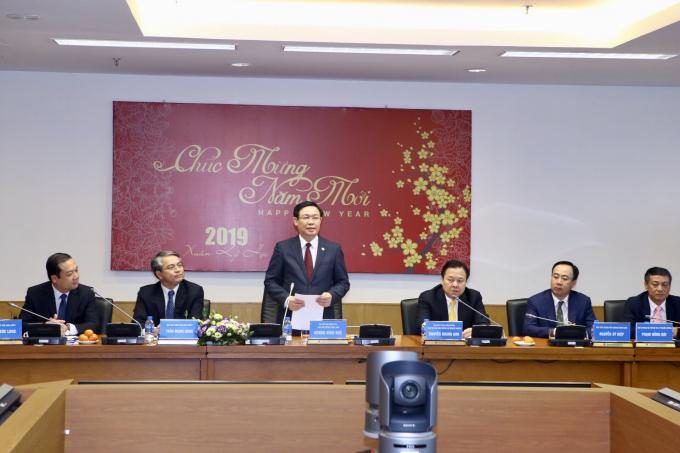 Phó Thủ tướng Vương Đình Huệ phát biểu tại cuộc làm việc tại VNPT -(Ảnh: VGP/Thành Chung)