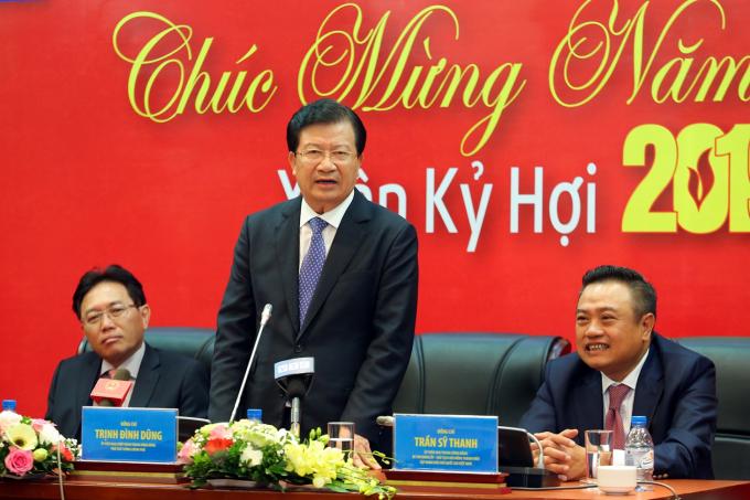 Phó Thủ tướng Trịnh Đình Dũng chúc mừng năm mới Tập đoàn Dầu khí Việt Nam.(Ảnh: PetroTimes)
